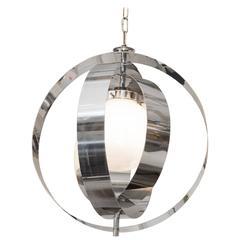 Italian 1970s Armillary Style Pendant Light in Chrome