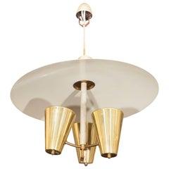 Midcentury Modernistic Italian Chandelier in Brass