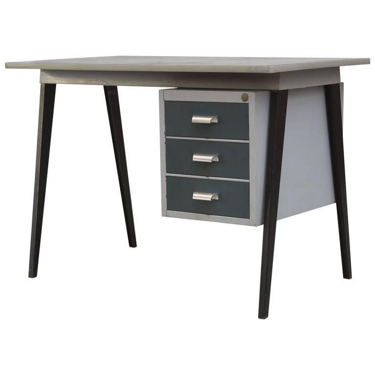 Friso Kramer Style 1950s Metal Desk With Prouve Legs At