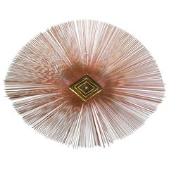 Large Brutalist Mixed Metal Copper Sunburst Wall Sculpture