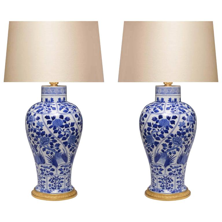 Amazing Pair Of Blue And White Porcelain Lamps For Sale