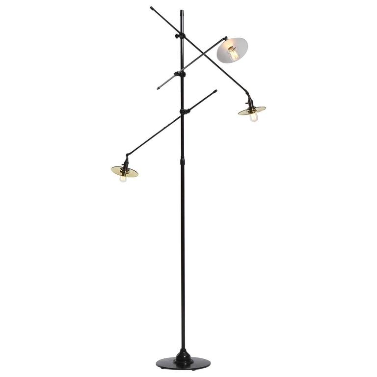 Adjustable Three-Arm O.C. White Floor Lamp Customized by Wyeth