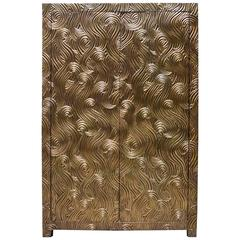 Dragon Swirl Armoire in Brass, 21st Century