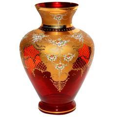 Large Cranberry Murano 24-Karat Capodimonte Gold Vase