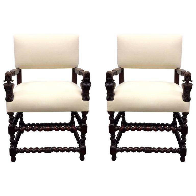 Pair of Franco Flemish Baroque Style Walnut Armchairs