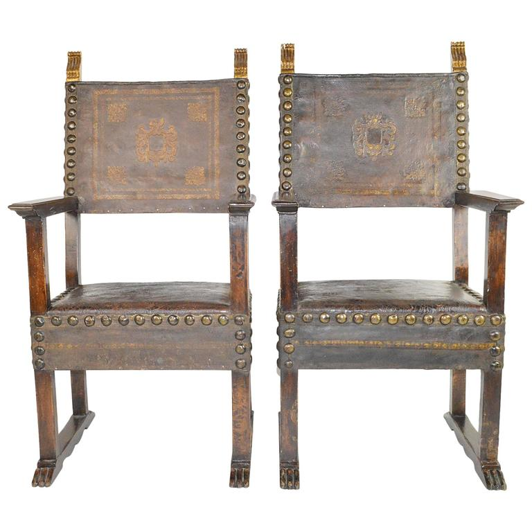 18th century pair of colonial style armchairs for