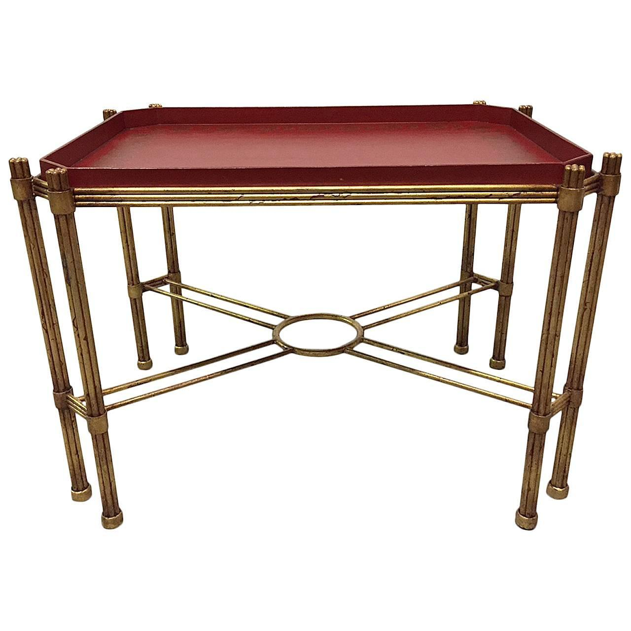 Hollywood regency gilt iron coffee table with removable for Coffee table with removable glass top