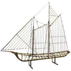 Large Jere Brass Ship