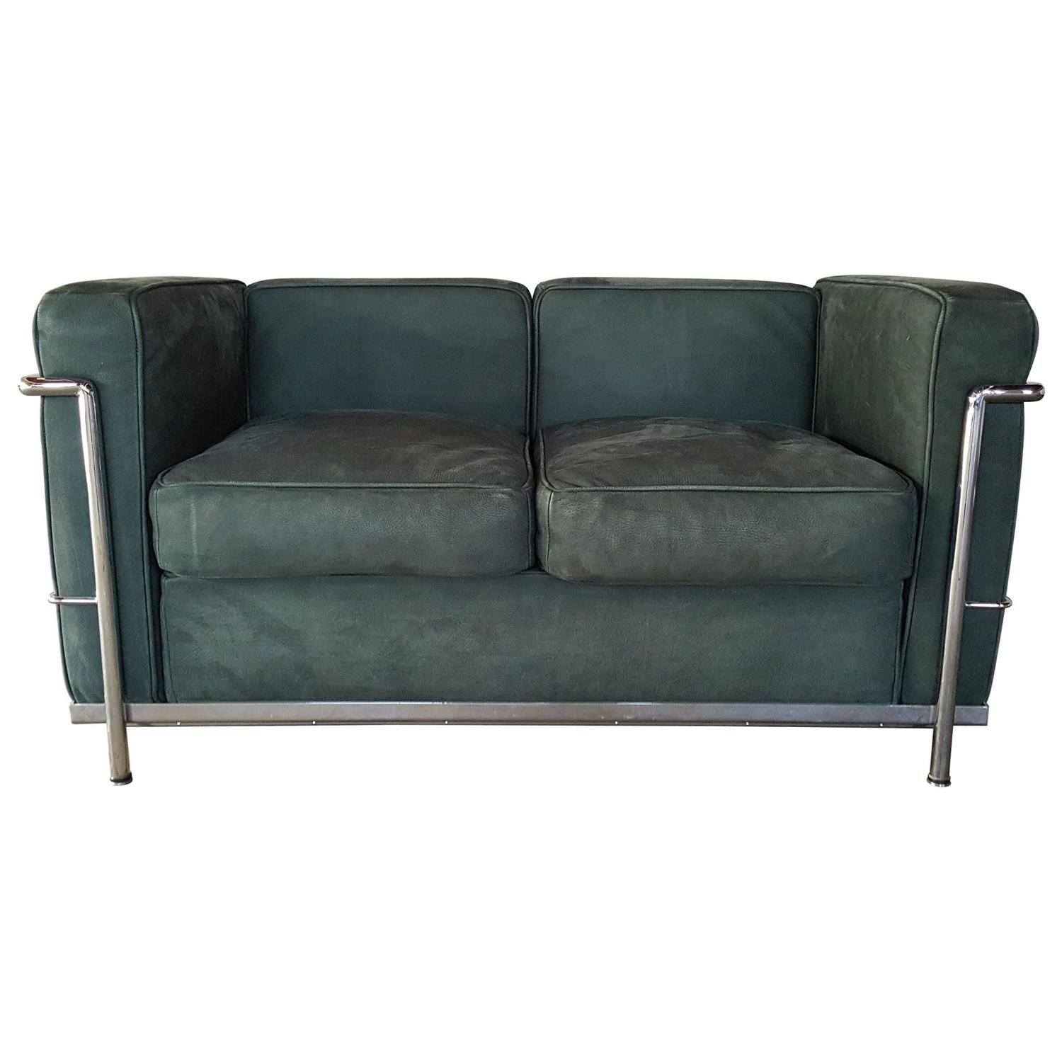 Le Corbusier Two Seat Sofa Loveseat Green Suede And Chrome For Sale At 1stdibs