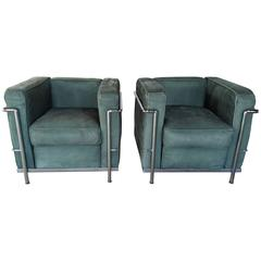 Pair of Le Corbusier Lc2 Lounge Chairs, Green Suede and Chrome