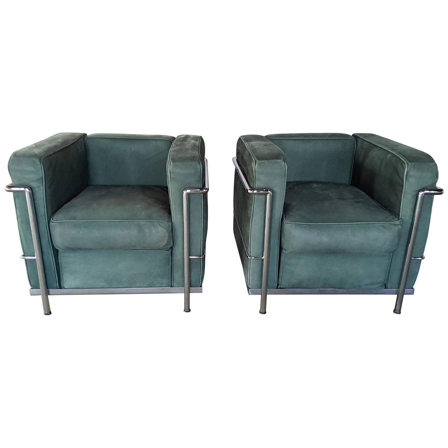 Pair of Le Corbusier LC2 Lounge Chairs Green Suede and Chrome at