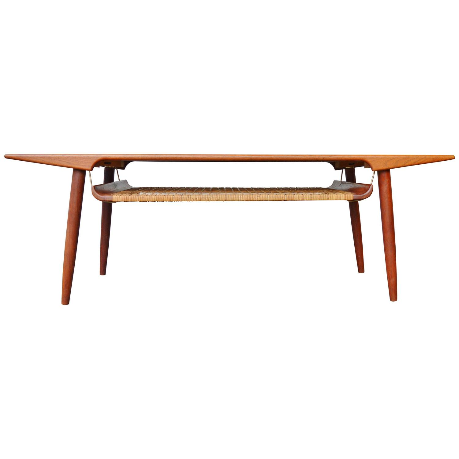 Balustrade Coffee Table Legs Canada: Striking Trioh Teak Coffee Table Curved Caned Shelf For