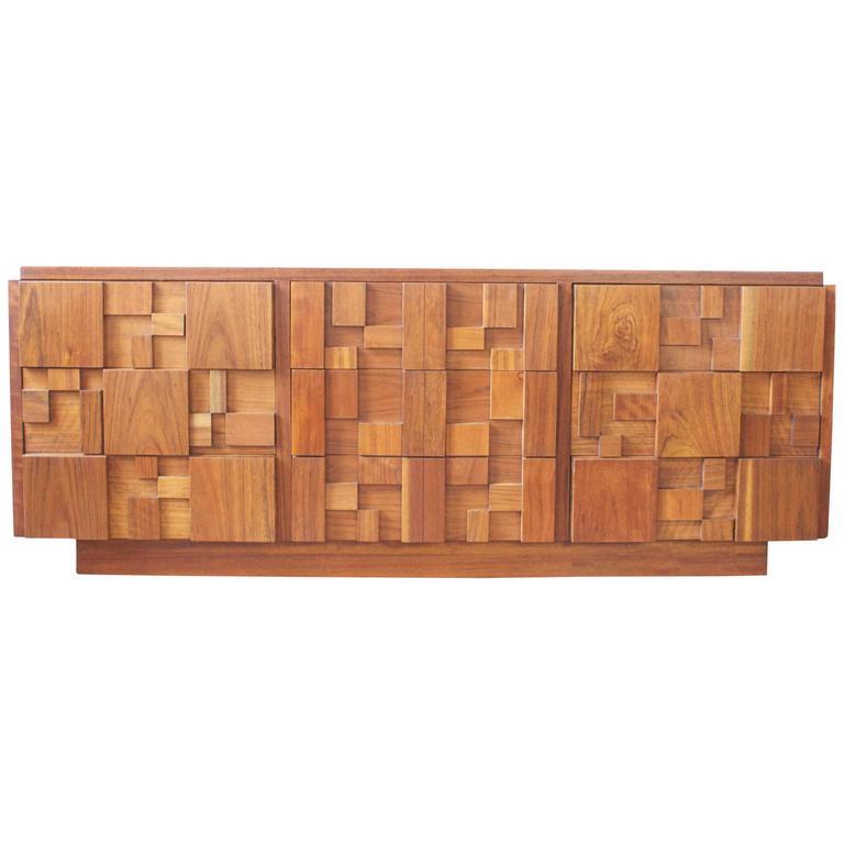 Mid Century Brutalist Walnut Dresser By Lane At 1stdibs