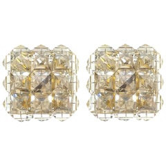 Pair of Crystal Glass and Brass Sconces in the style of Lobmeyr