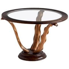 1940s Paolo Buffa Side Table With Hand Carved Wood Leaf Legs