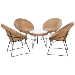 1950s Rattan Lounge Set Attributed to Mathieu Matégot