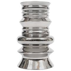 Totemic Silver Glazed Vase by Sergio Asti