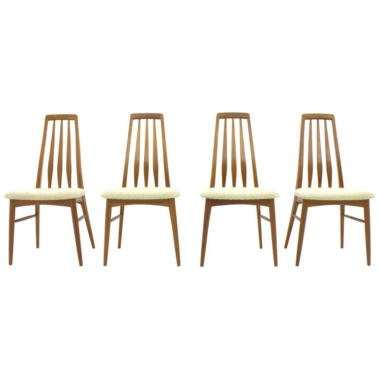 Set of Four Niels Koefoed EVA Teak Dining Chairs, Denmark 1960s