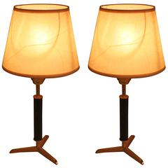 Pair of Bronze and Leather Table Lamps by Jacques Adnet