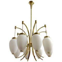 Eight-Arm Stilnovo Brass and Opaline Glass Drop Chandelier