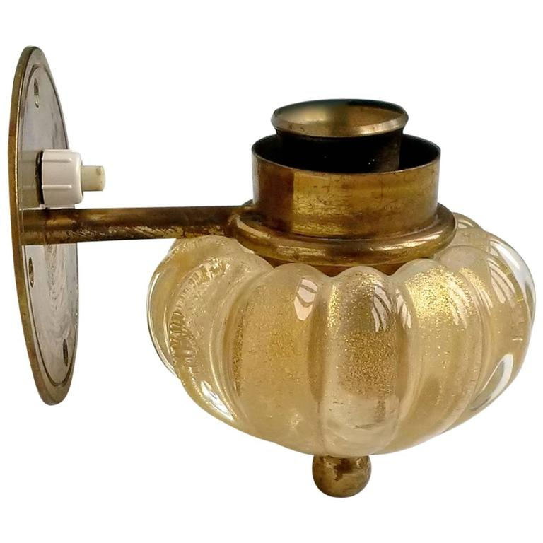 Archimede Seguso Gold Murano Glass and Brass Wall Light at 1stdibs