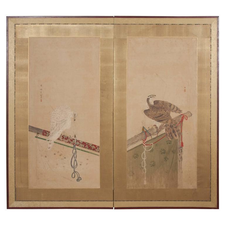 Japanese Edo Period Two-Panel Screen