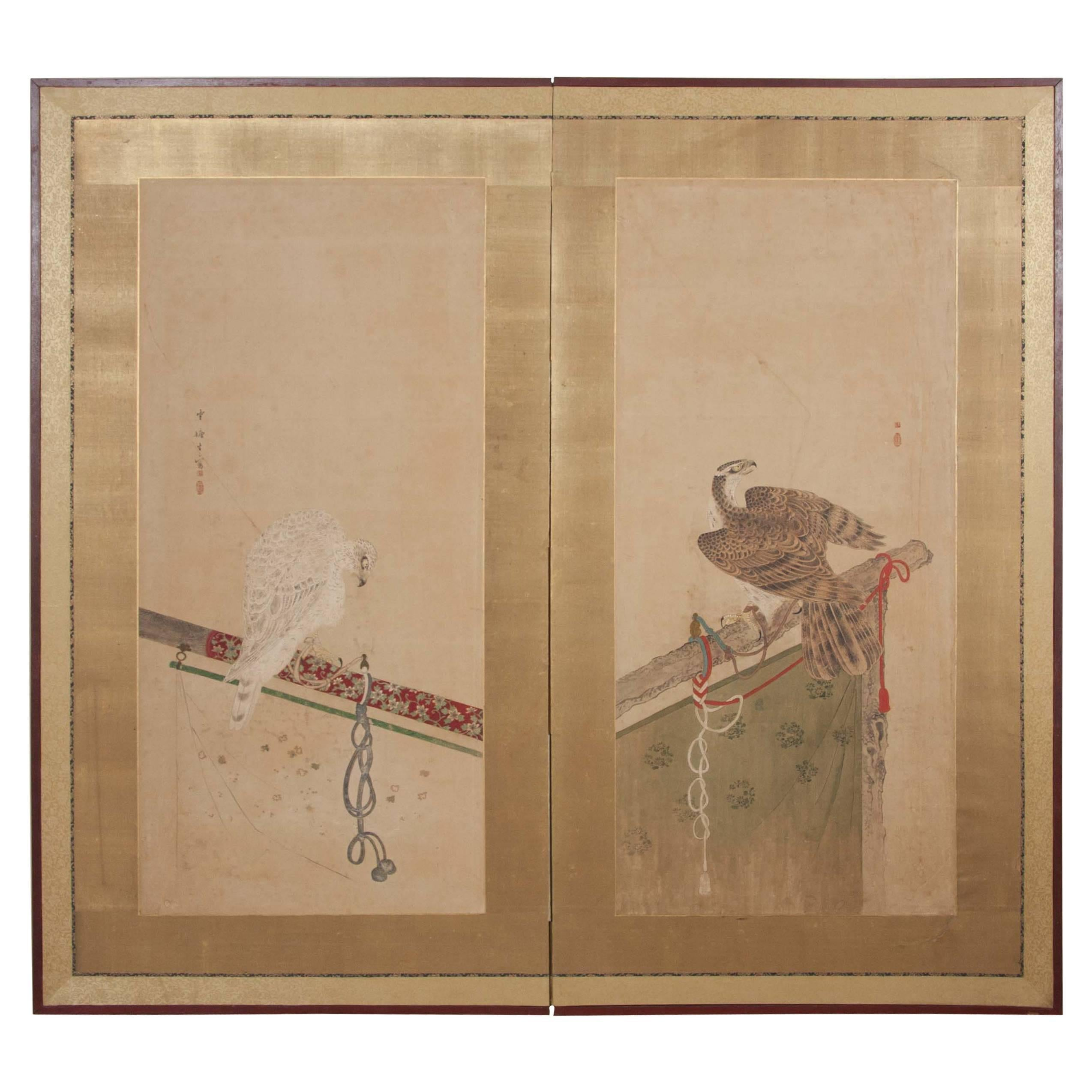 Japanese Edo Period Two-Panel Screen