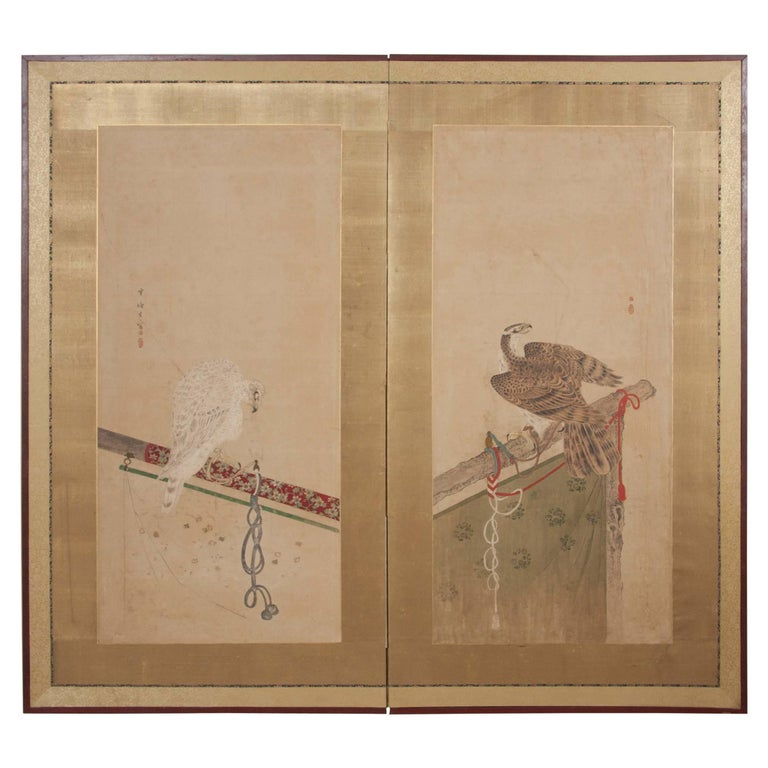 Japanese Edo Period Two-Panel Screen For Sale