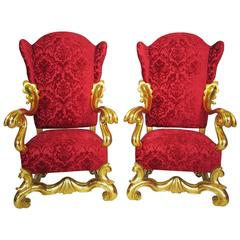 A Pair Italian 19th-20th Century Baroque Giltwood Carved Winged Throne Armchairs