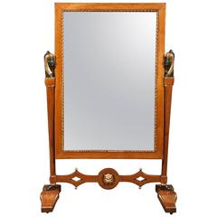 Egyptian Revival Cheval Glass Mirror