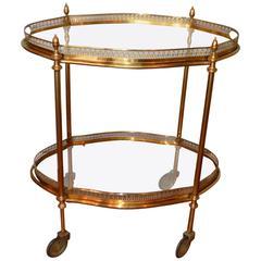 French Mid-Century Brass Bar Cart