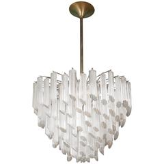 Magnificent Camer Chandelier of Tiered Murano Glass Prisms
