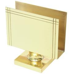 Tommi Parzinger Polished Brass Letter or Napkin Holder