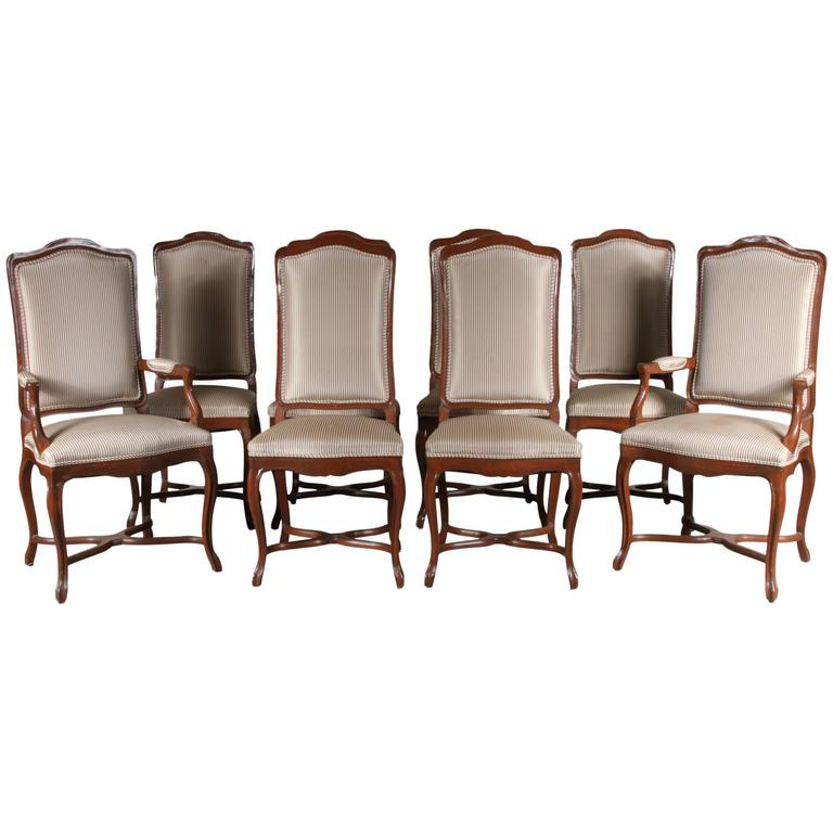 Set Of Eight French Provincial Style Walnut Dining Chairs For Sale At 1stdibs