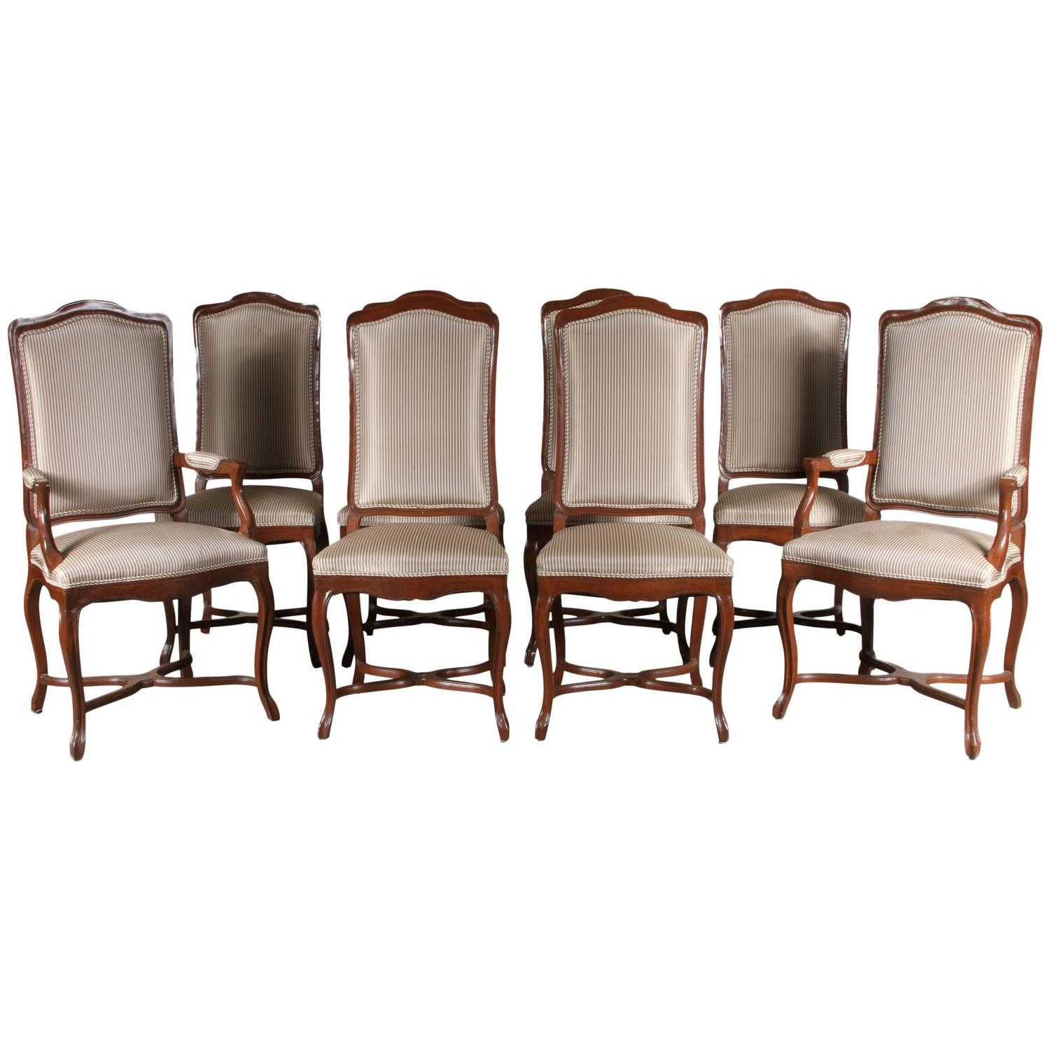 Set of Eight French Provincial Style Walnut Dining Chairs