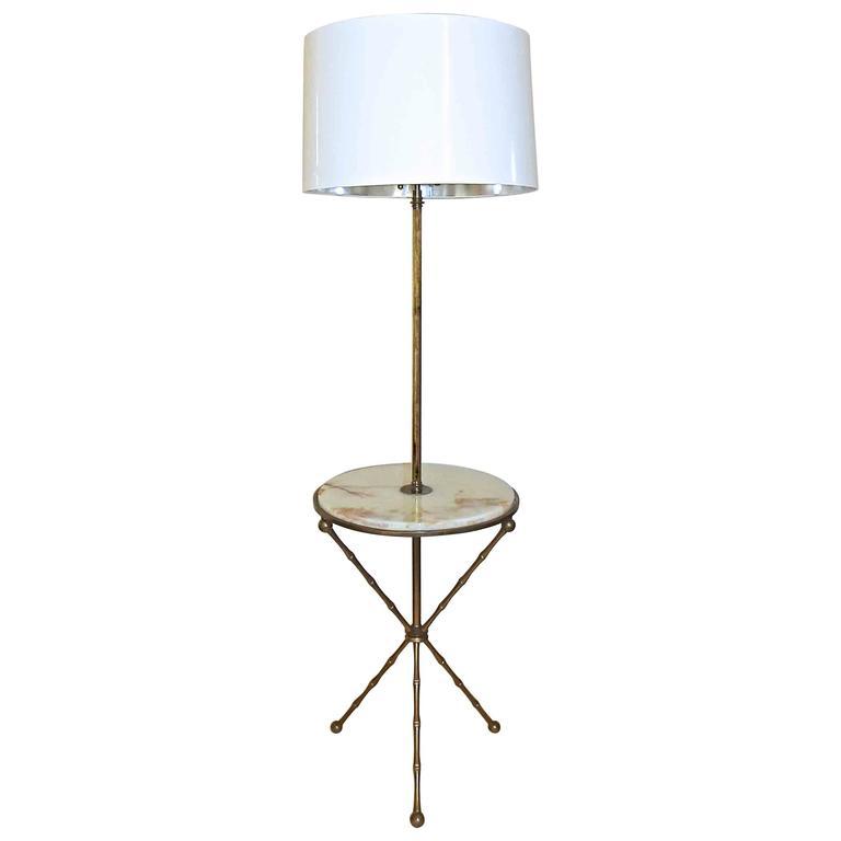 Rare Bagues Bronze Faux Bamboo Tripod Lamp Table