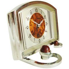 Eccentrically Designed Petite German Art Deco Chrome & Painted Metal Table Clock