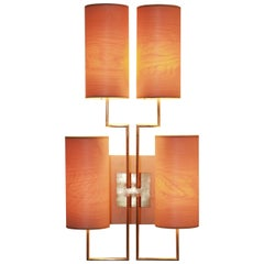 """Wall Lamp Sconce """"Tige4"""" Gold Bronze Patina, Wooden Lampshades by Aymeric Lefort"""