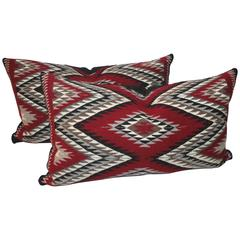 Pair of Geometric Eye Dazzler Navajo Indian Weaving Pillows