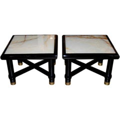 Italian Black Lacquer Side Tables with Onyx Tops