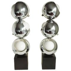 Bookmatched Pair of American 1960s Chrome and Black Enamel Triple Eyeball Lamps