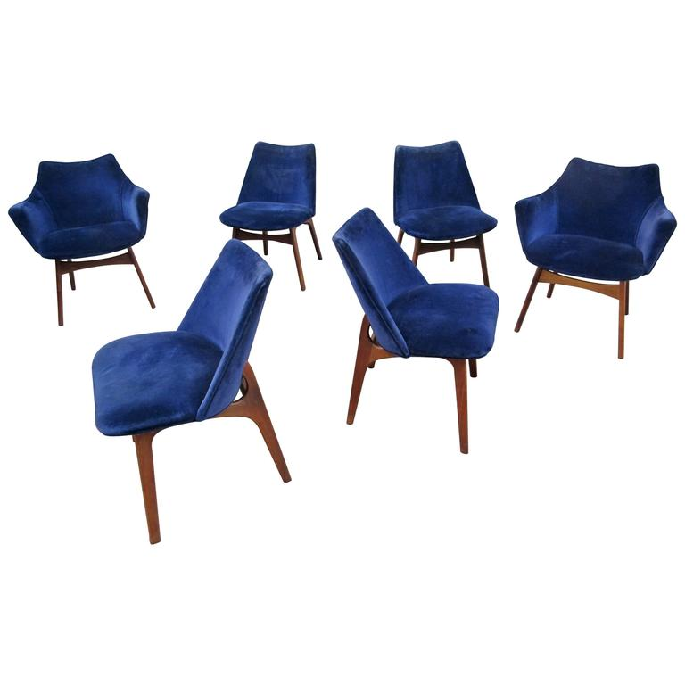 Set Of Six Adrian Pearsall Dining Chairs For Craft Associates For Sale