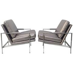 Chrome and Leather Lounge Chairs by Milo Baughman for Thayer Coggin