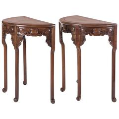 Pair of Late 19th Century Chinese Demilune Tables