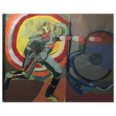 Ant Man Running into an Atom Oil Painting by NYC Artist Clintel Steed, 2015