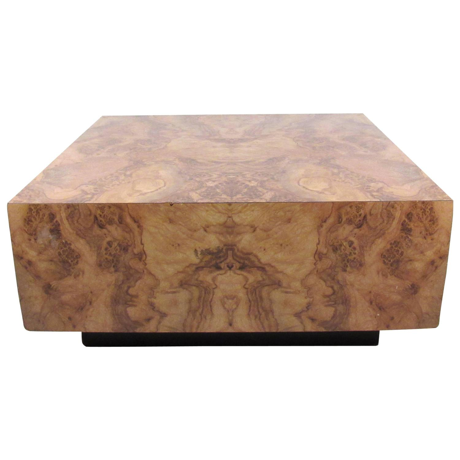 Milo Baughman Style Burl Wood Coffee Table At 1stdibs