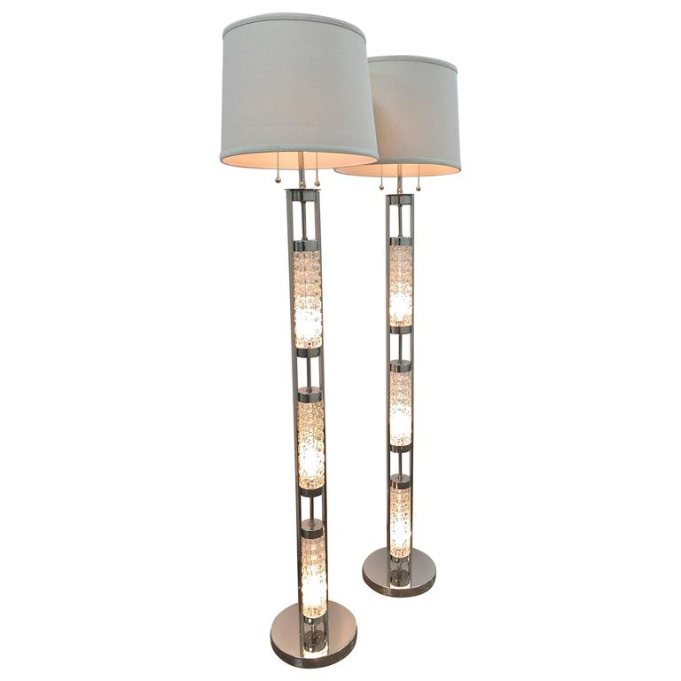 Pair of Floor Lamps in the Orrefors Style