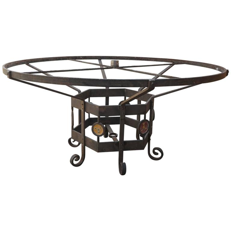 Custom made wrought iron mosaic table base for sale at 1stdibs for Outdoor table bases wrought iron