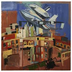 Space Shuttle over Harlem Oil Painting by New York Artist Clintel Steed, 2012