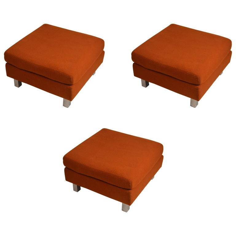 """Set of Three """"Contempo"""" Ottomans, Benches, Footrests, Poufs"""